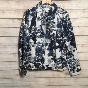 Appleseed's Black White Floral Printed Jean Jacket